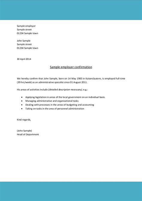 proof of employment letter exle cover letter exle