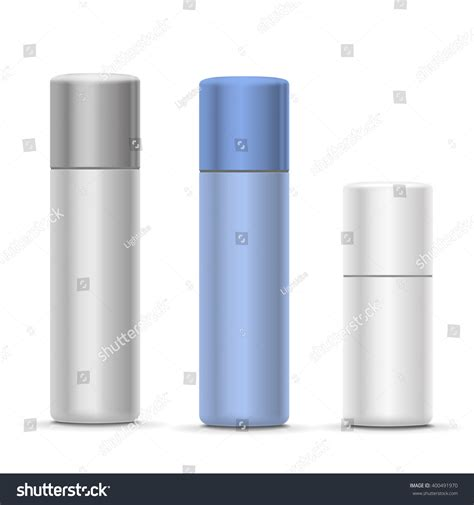 spray paint mockup white silver bottles aerosol spray metal stock vector