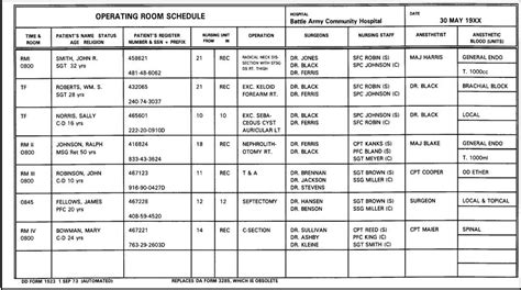 The Room Schedule 2 18 operating room specialist