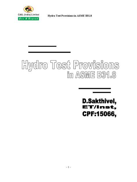 Hydro Test | Pipeline Transport | Pipe (Fluid Conveyance)