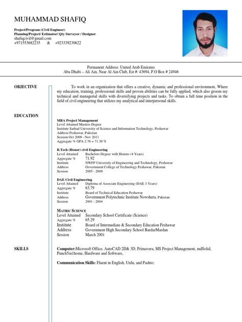 Engineer And Mba by B Tech Civil Engineer And Mba Project Management Resume