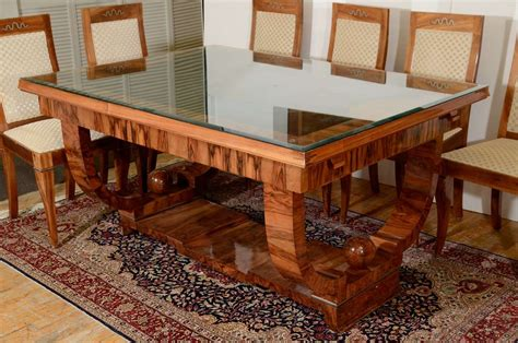 french art deco walnut dining set with eight chairs at 1stdibs french art deco walnut dining set with eight chairs at 1stdibs