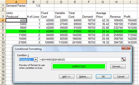excel 2007 conditional format formula spreadsheets highlighting largest smallest values