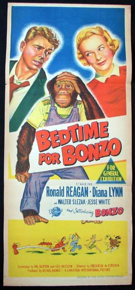 bed time for bonzo bedtime for bonzo movie poster ronald reagan diana lynn