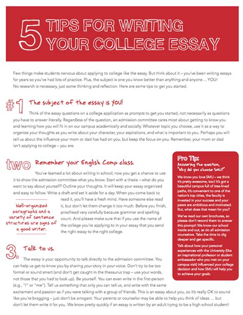 Tips For Writing A College Essay by Tips Resources Smu