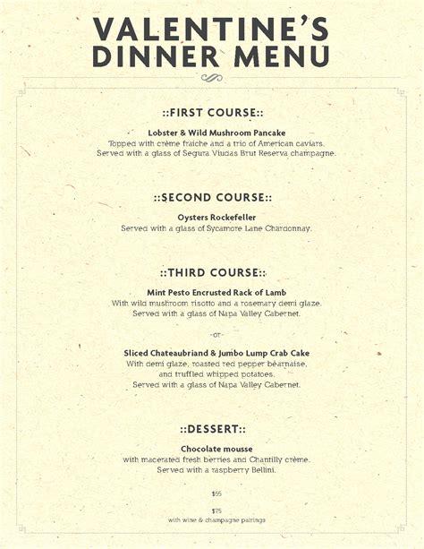 valentines day dinner menu wine pairings eli s table
