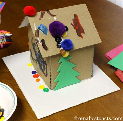 invitation to create cardboard gingerbread house from