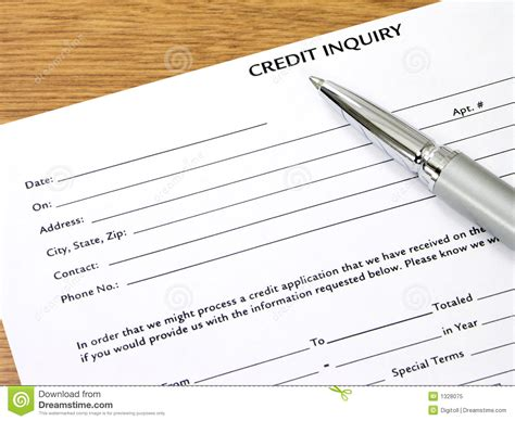 Credit Inquiry Form Credit Inquiry Form On Desk Royalty Free Stock Photo Image 1328075