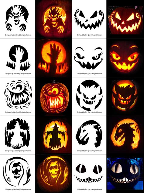 printable halloween pumpkin carving stencils