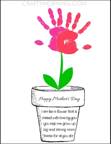 printable flowers mother s day printable poem flower pot for mother s day crafty morning