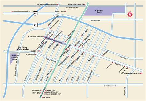 map of downtown las vegas las vegas maps