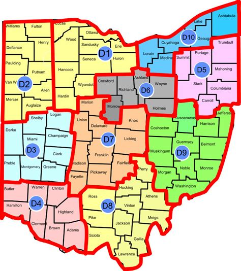 ohio district map map of ohio districts my