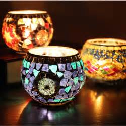 beautiful color candle holder mosaic tealight cup tray
