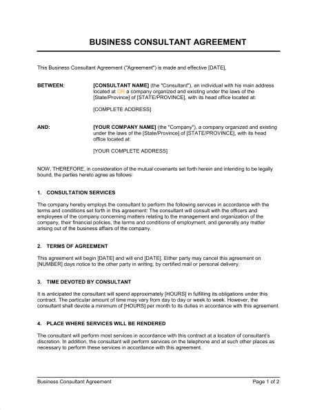 consulting agreement short template sle form