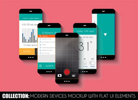 design html for mobile devices mobile devices mockup with flat ui elements vector free
