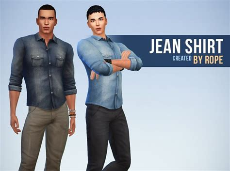 sims 4 cc male geek shirts denim shirt for males the sims 4 catalog