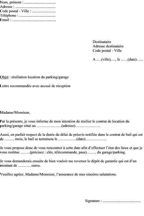 Exemple de lettre de cessation de bail lettre préavis