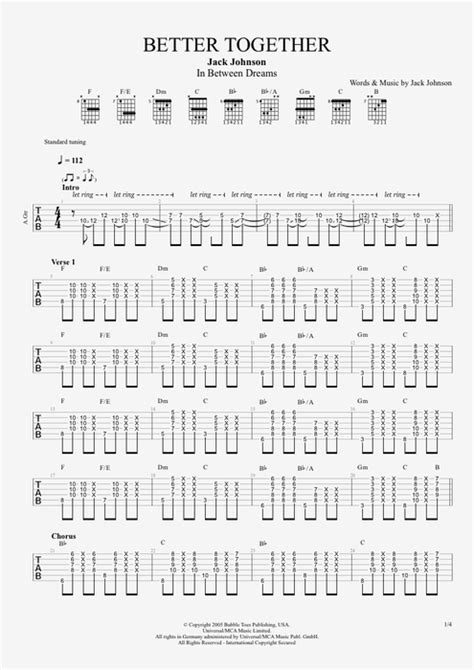 better together chords better together by johnson score guitar pro
