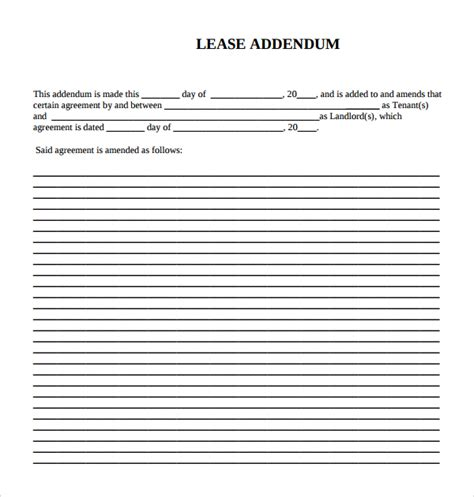 15 Lease Addendum Forms To Download For Free Sle Templates Lease Addendum Template Word