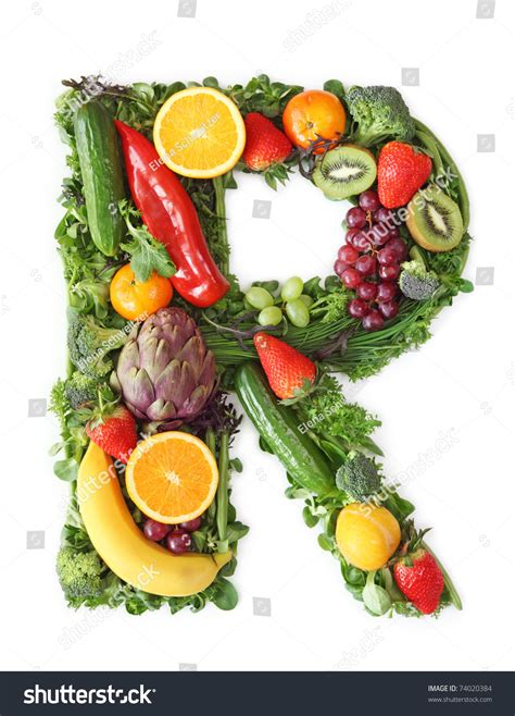 r fruits and vegetables fruit and vegetable alphabet letter r stock photo