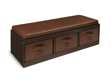 Cushioned Storage Bench Badger Basket Kid S Storage Bench With Cushion And 3 Bins Espresso Baby
