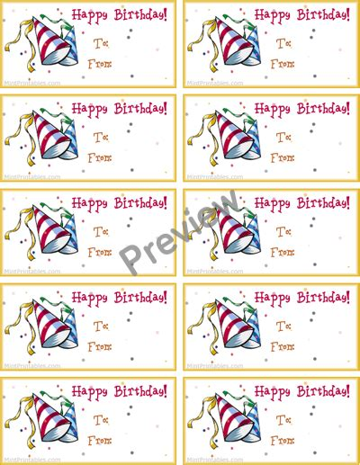 printable birthday gift tags templates printable birthday tag new calendar template site