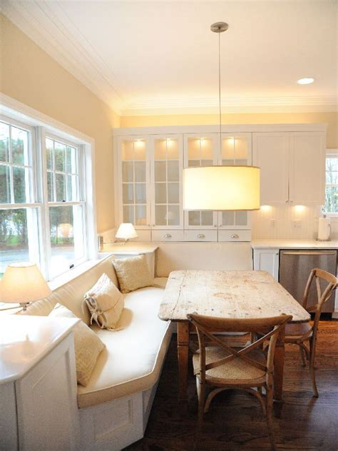 white banquette white banquette wood table kitchen space pinterest