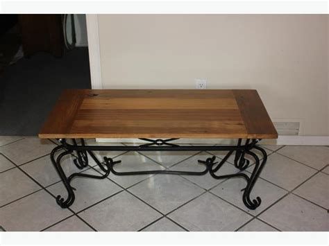 Wrought Iron Wood Coffee Table Reclaimed Wood Wrought Iron Coffee Table Central Saanich