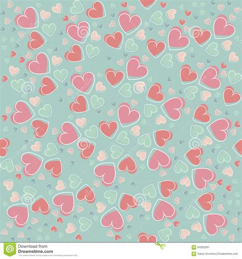 seamless pattern template trendy seamless pattern with cute hearts cartoon vector