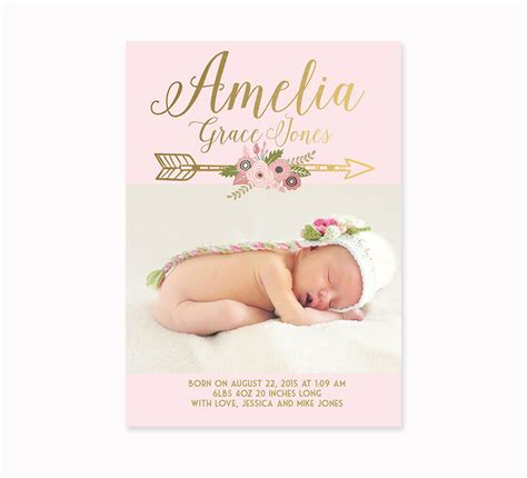 baby girl birth announcement faux gold foil and pink floral