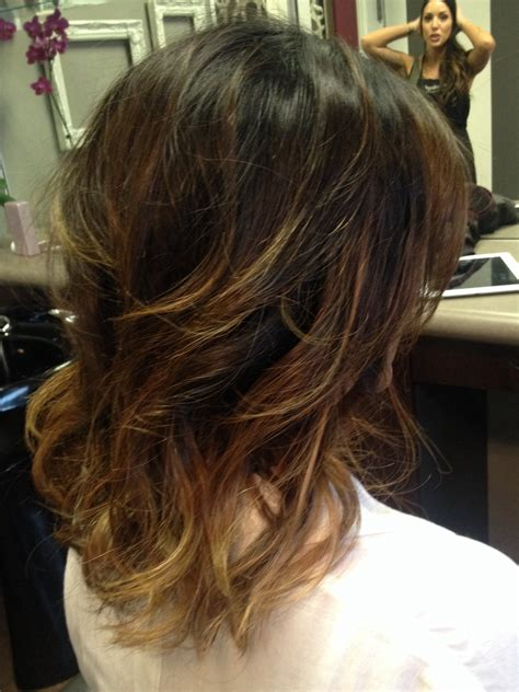 medium length hair with ombre highlights short shoulder length ombre hair stella salon in