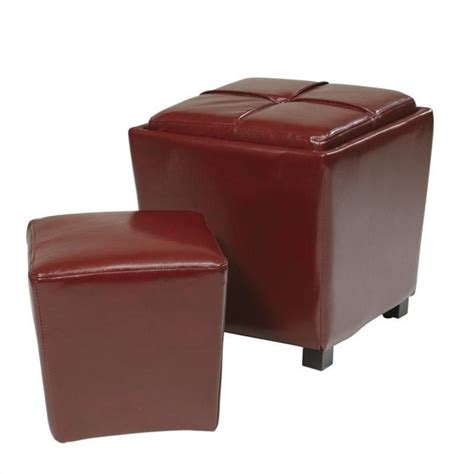 red ottomans office star metro 2 pc eco leather set red ottoman ebay