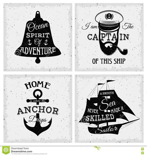 nautical quotes compositions stock vector illustration
