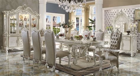 versailles bone white finish 120 quot formal dining room table