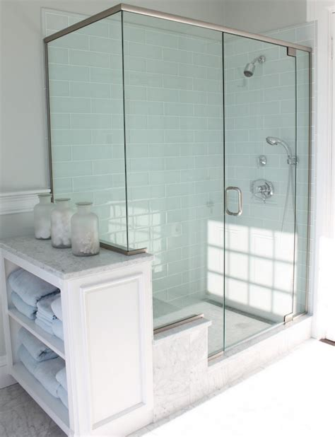 glass shower bathroom blue glass tile shower cottage bathroom molly frey