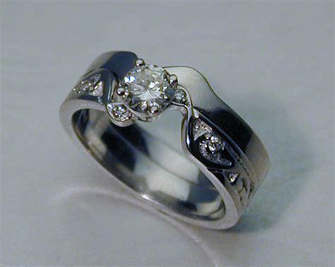 interlocking engagement ring wedding band set