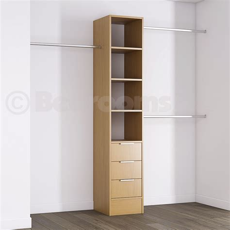 Deluxe 3 drawer tower shelving unit with hanging bars