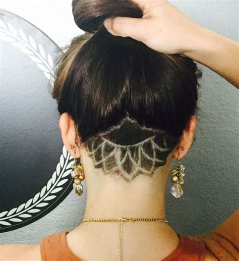 flower design in hair undercut mandala