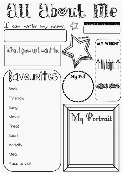 printable worksheets all about me 34 best all about me worksheets images on pinterest