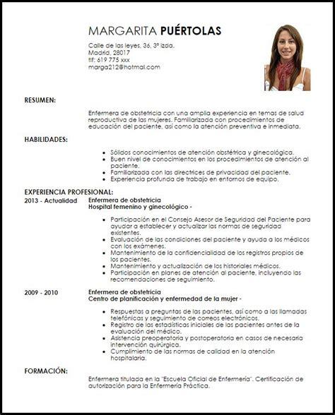 Modelo Curriculum Vitae Enfermera de Obstetricia