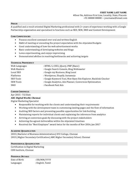 sample resumes for marketing professionals senior a professional