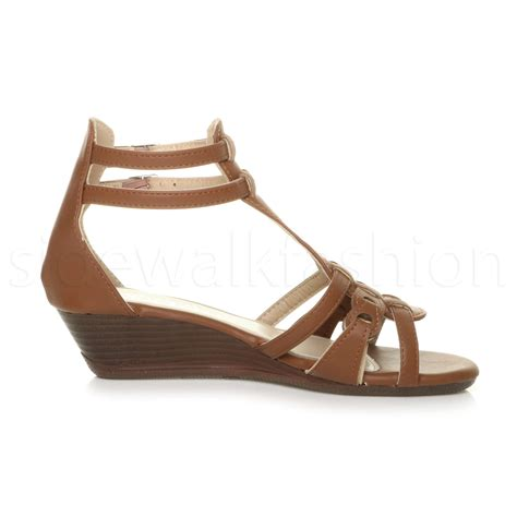 gladiator low wedge sandals womens low mid heel wedge strappy summer gladiator