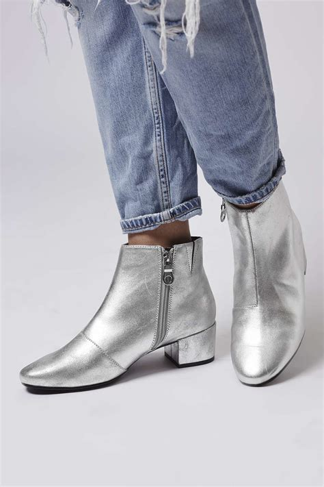 silver boots topshop betty silver boots in metallic lyst