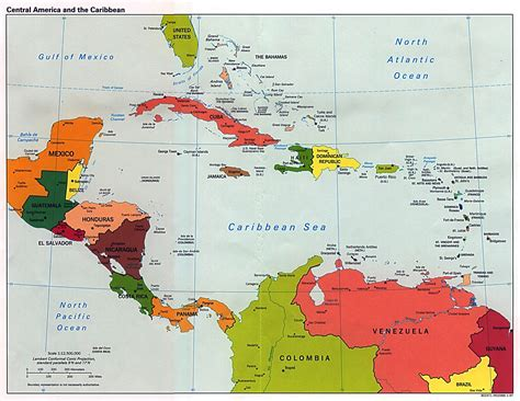 central america map with states and capitals large detailed political map of central america and the