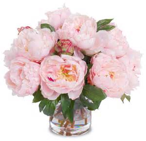 faux peony bouquet with cylinder vase pink contemporary
