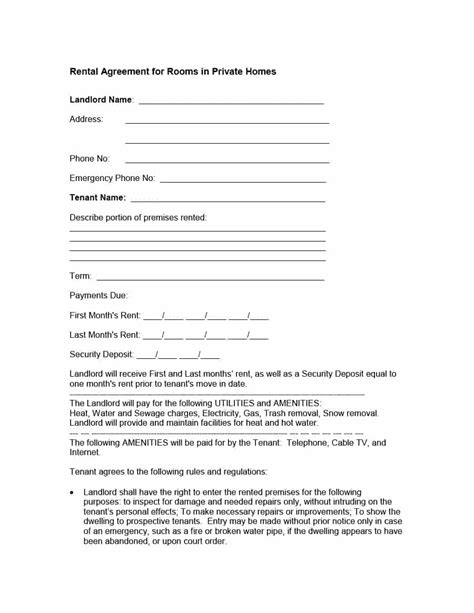 lease agreement for renting a room template 39 simple room rental agreement templates template archive