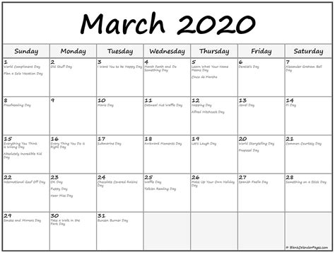 collection  march  calendars  holidays