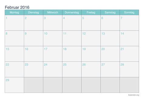 Kalender 2016 Februar Kalender Februar 2016 Zum Ausdrucken Ikalender Org