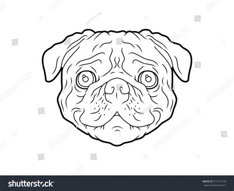 pug line drawing pug line stock vector 517515109