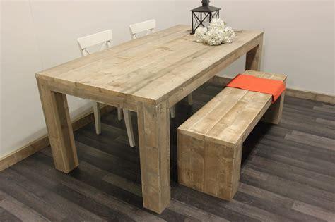 bureau of meter steigerhouten tafel met stevige poten op maat gemaakt